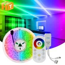5050 LED רצועת RGB / RGBW / RGBWW 5M 10M RGB צבע שינוי גמיש LED אור קלטת + מרחוק בקר + DC12V כוח מתאם