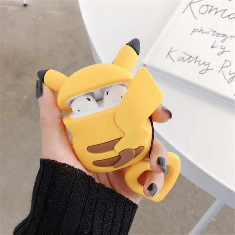 Anime Pokemon Airpods Bag Cosplay 3D Badge Pikachu Bluetooth Headset Silica Gel Protection Box Fashion Cartoon Cute Facny Gift