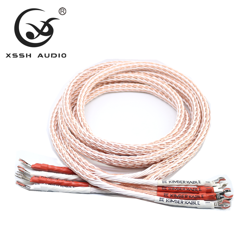 Image 2 - 1 pair XSSH audio Hi end DIY HIFI Silver Plated Y shape spade to  banana plugs 12TC 24 core speaker cable Cord Wire