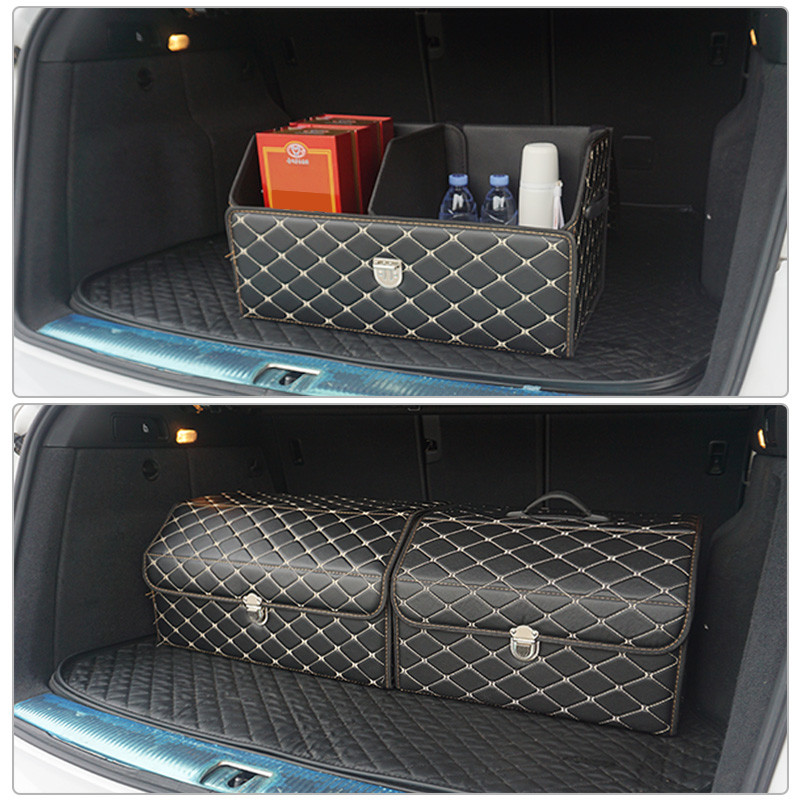 Waterproof leather car trunk storage box high-quality luxury storage box Fit for Toyota Volkswagen Hyundai LADA Kia Mitsubishi title=