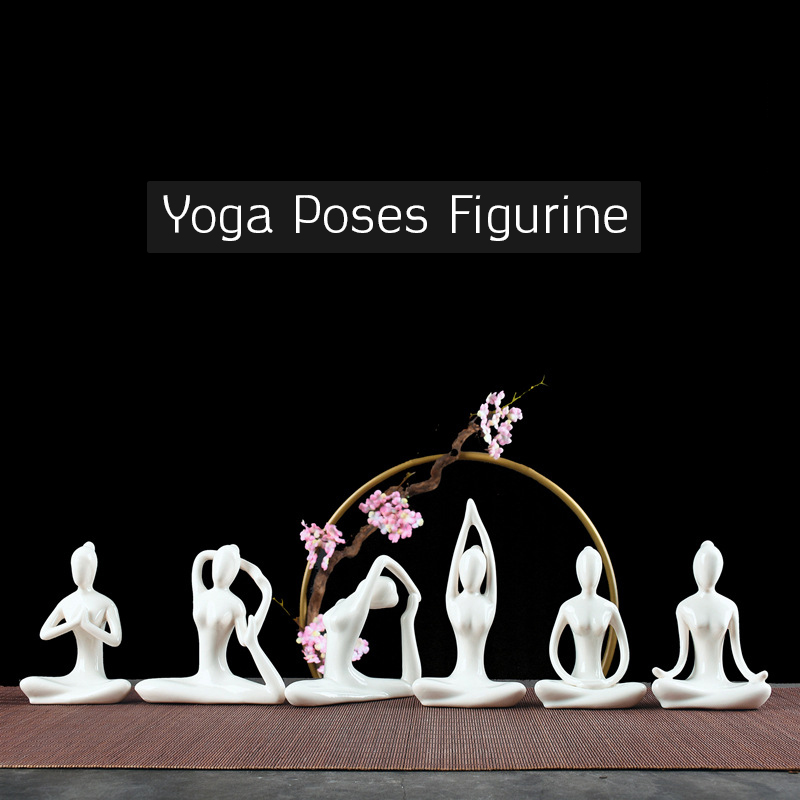 6 Style Cute Girl Lady Yoga Posture Statue Piglet Abstract Art Ceramic Sculpture Decoration Ornament Home Office Store Desk Gift