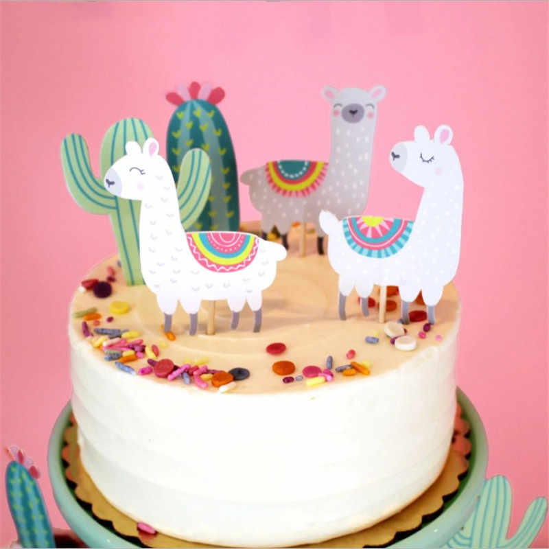 Cakelove 5pcs קקטוס אלפקה לאמות עוגת טופר Cupcake Toppers חתונה יום הולדת עוגת קישוט ג 'ונגל קיץ ספקי צד