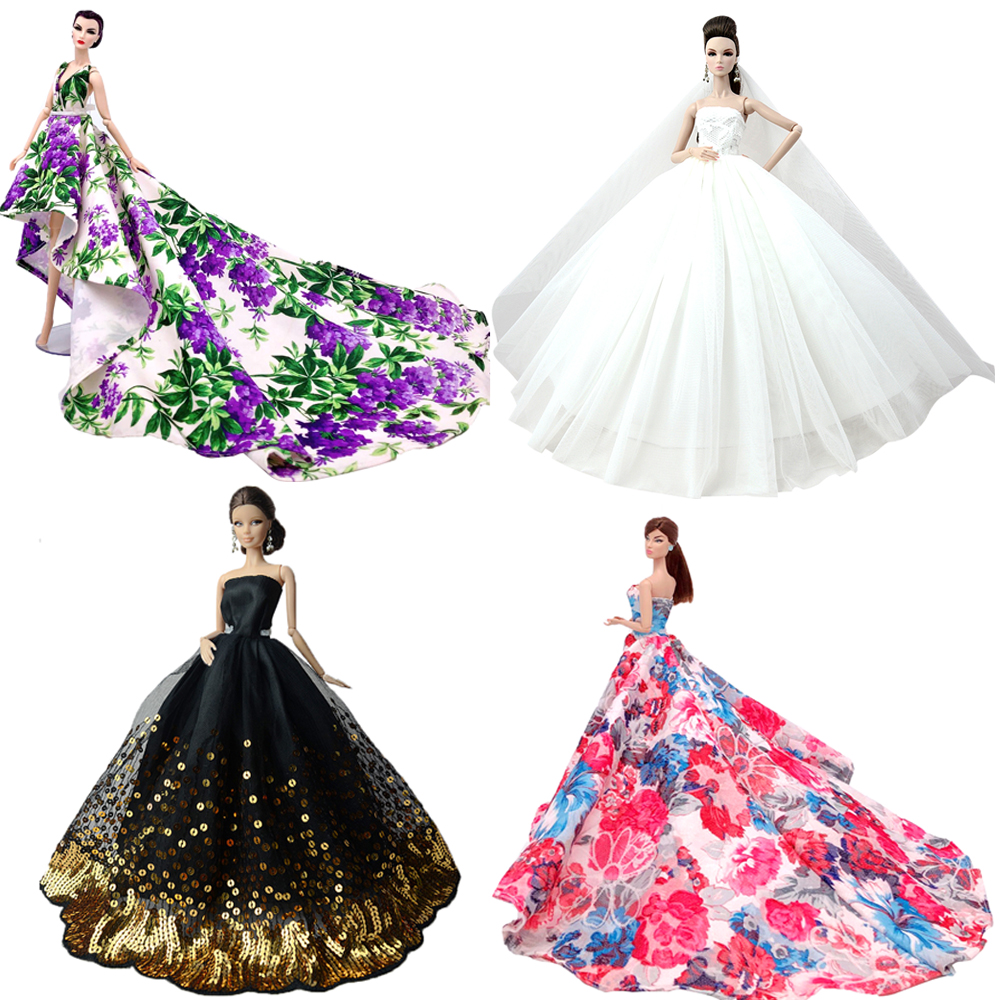 NK 2020 Princess Doll Clothes Handmake Wedding Dress Fashion Evening Party Outfit For Barbie Doll Accessories FR Noble Doll JJ