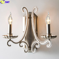 FUMAT Metal Art Necklace Crystal Wall Lamp Antique Silve American Country Lighting Retro Porch Candle Light E14 LED Crown Silver