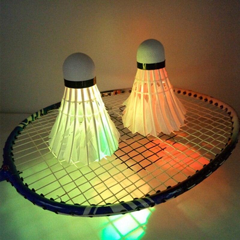 1pc  Luminous Shuttlecock LED Dark Night Glow Goose Feather Training Badminton Ball For Indoor Outdoor Sports Activities