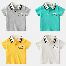 Kids Boys Summer Clothing Short Sleeve Cotton Lapel Shirts Solid Color Tops Baby 2020 Fashion T For 24m-6y
