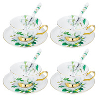 ARTVIGOR Camellia Printed Tea Coffee Cup Set New Bone China Coffee Cup&Saucer Gift Sets with Spoons Service for 4person
