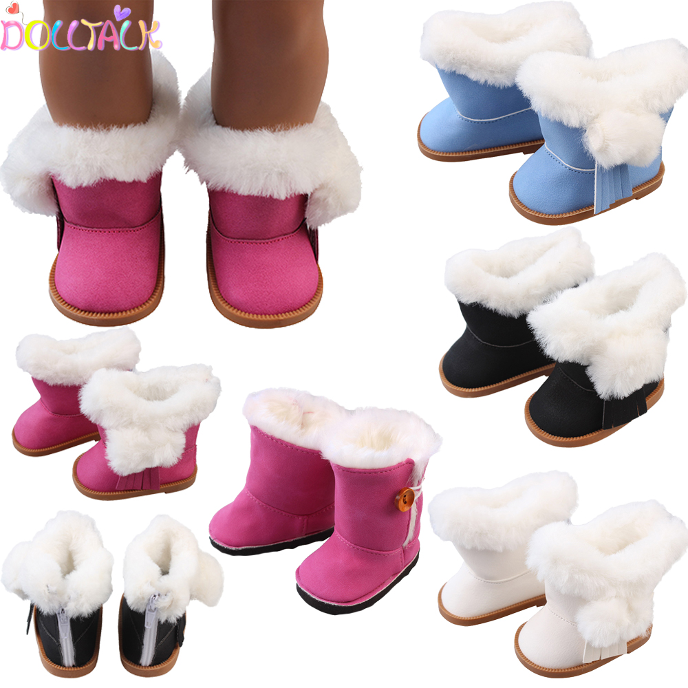 43cm Height Girls Dolls Snow Boots Shoes Slippers For 18 Inch Doll Born Baby Doll Winter Festival Shoes Toy Doll Accessories