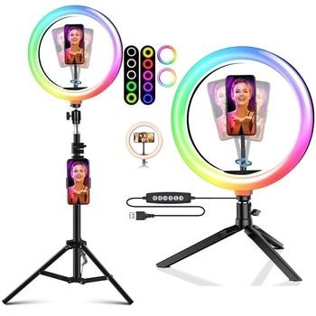 """""""Tongdaytech"""" reguliuojamas """"RGB LED"""" asmenukių žiedo užpildymo šviesos žiedas su fotoaparatu ir trikoju makiažui ir tiesioginiam vaizdo įrašui"""