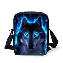 Thikin Moonlight Wolf Shoulder Messenger Bag Crossbody Phone Bags for Girls School Supplies Shopping Box Mochila Infantil Custom