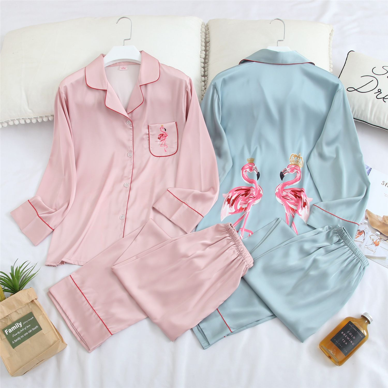 QWEEK Silk Women Pajamas Sleepwear Pijamas Ladies Pyjamas Satin Sleep Lounge Home Clothes Nightwear Flamingo Print Homewear