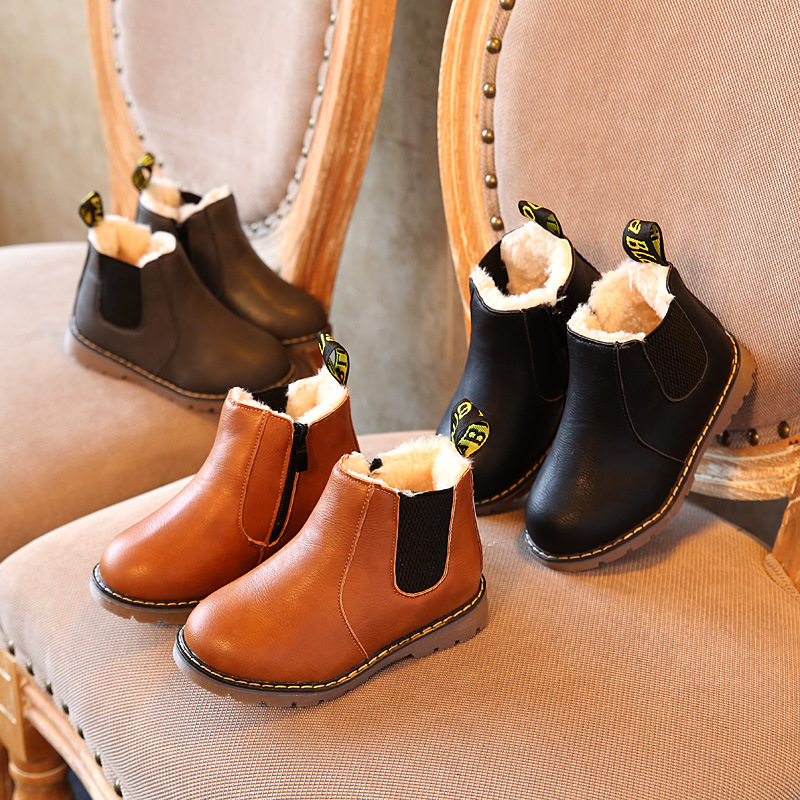 Children Fashion Boots Winter Russian KIDS SHOES Rubber Boots Toddler Pu Leather Botas Boys Girls Waterproof Plush Snow Boots