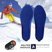 Palmilhas aquecidas elétricas inverno quente sapatos de esqui botas almofada com controle remoto memória espuma veludo palmilhas de aquecimento para homens Palmilhas     -