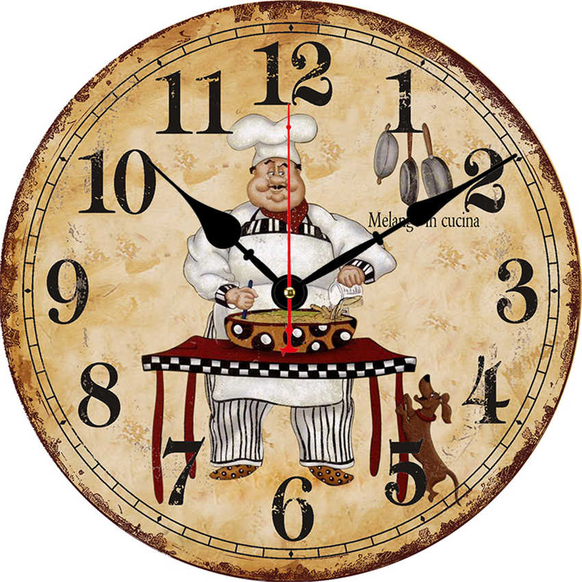 Cook Antique Wall Watch,Kitchen Clock,Shabby Retro Home Kitchen Room Decor,New Arrival