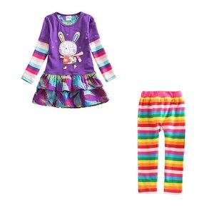 Image 2 - Meninas conjuntos de roupas meninas roupas até o joelho vestido + leggings crianças roupas ternos padrão estampado vestidos + calças ternos 3 8y