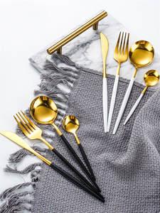 Knife Fork Tableware-Set Spoon Flatware Gift-Box Dishwasher-Safe Stainless-Steel Gold
