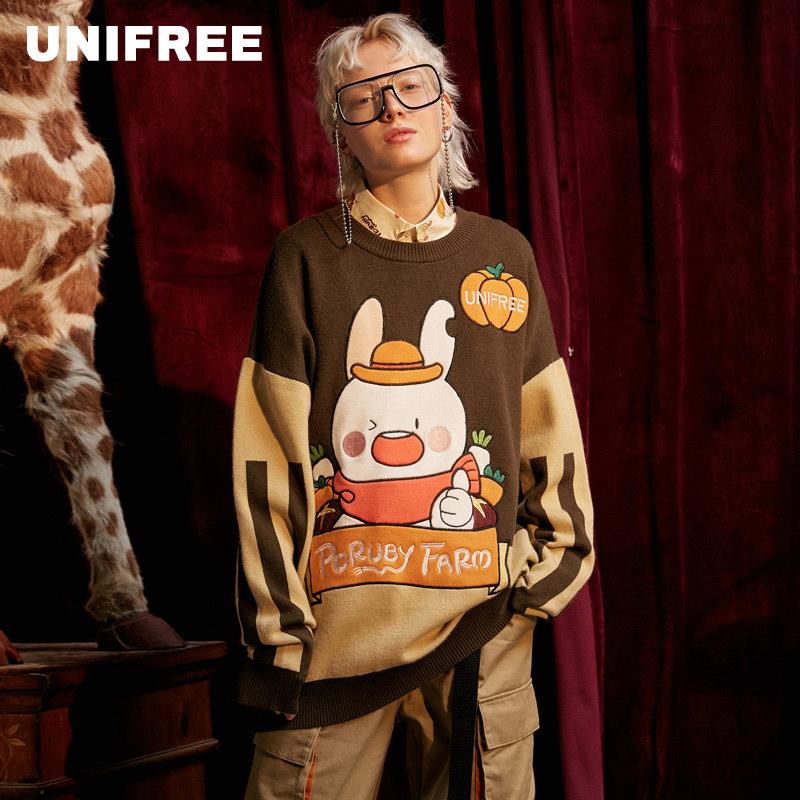 UNIFREE Fall 2019 New Fashion Printed Long Sleeve Loose Sweater U193K205AA