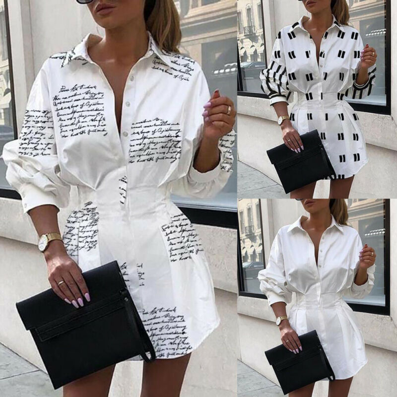Autumn Womens Mini Dress Ladies V Neck Long Sleeve Blouse Button Down Oversize Tops Shirt Casual V-Neck Basic Tunic Long Shirts