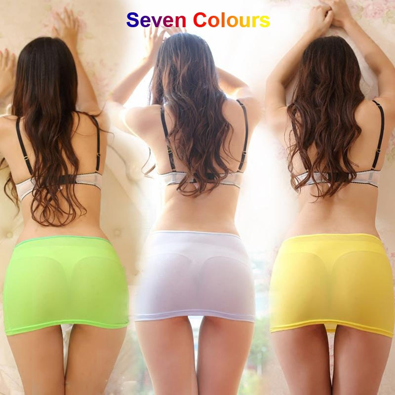 Cute Candy Colors Sexy Tight Pencil Skirt See Through Skirt Micro Mini Night Club Wear