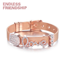 Endless Friendship DIY Stainless Bracelet Steel Rhinestone Love Shape Beads Mesh For Women Metal Wristband Gift