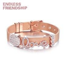 Endless Friendship DIY Stainless Bracelet Steel Rhinestone Love Shape Beads Mesh For Women Metal Wristband Gift