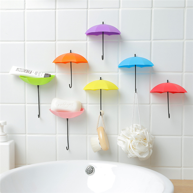 30PCS Home Garden Candy Color Umbrella Shaped Hang Holder Umbrella Wall Stick Hook Key Door Holder Organizer Decorative