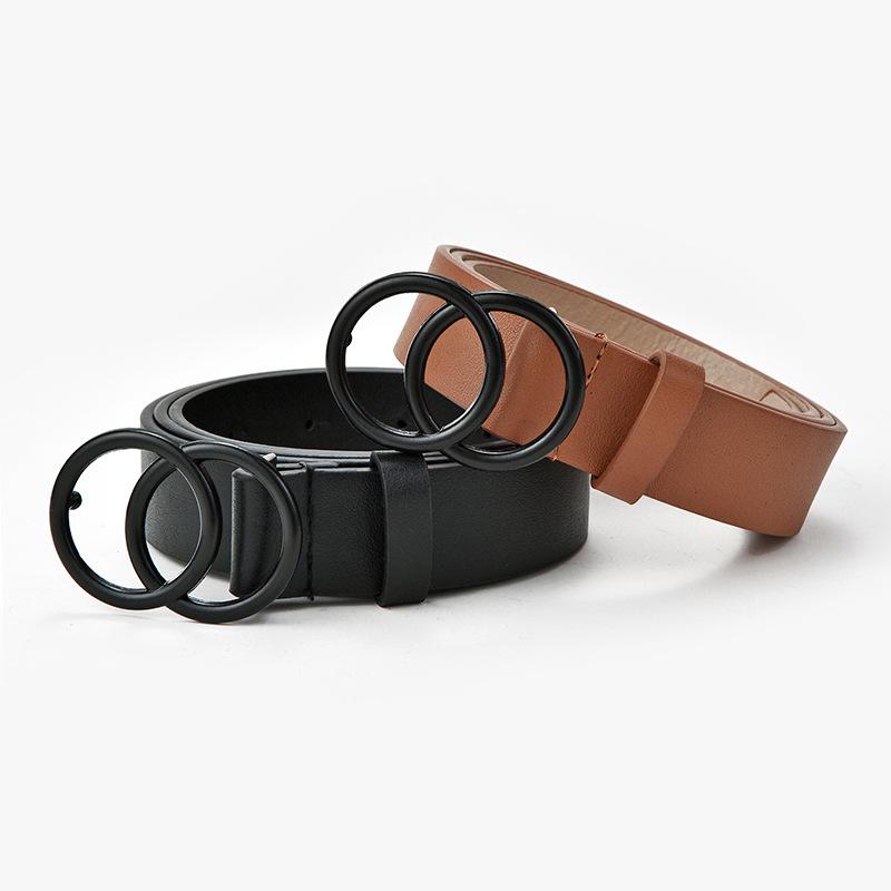 Fashion Leather Waist Belts Women For Jeans Double Ring Buckle Ladies Belt For Dresses Black Women Belt Wild Waistband Ladies