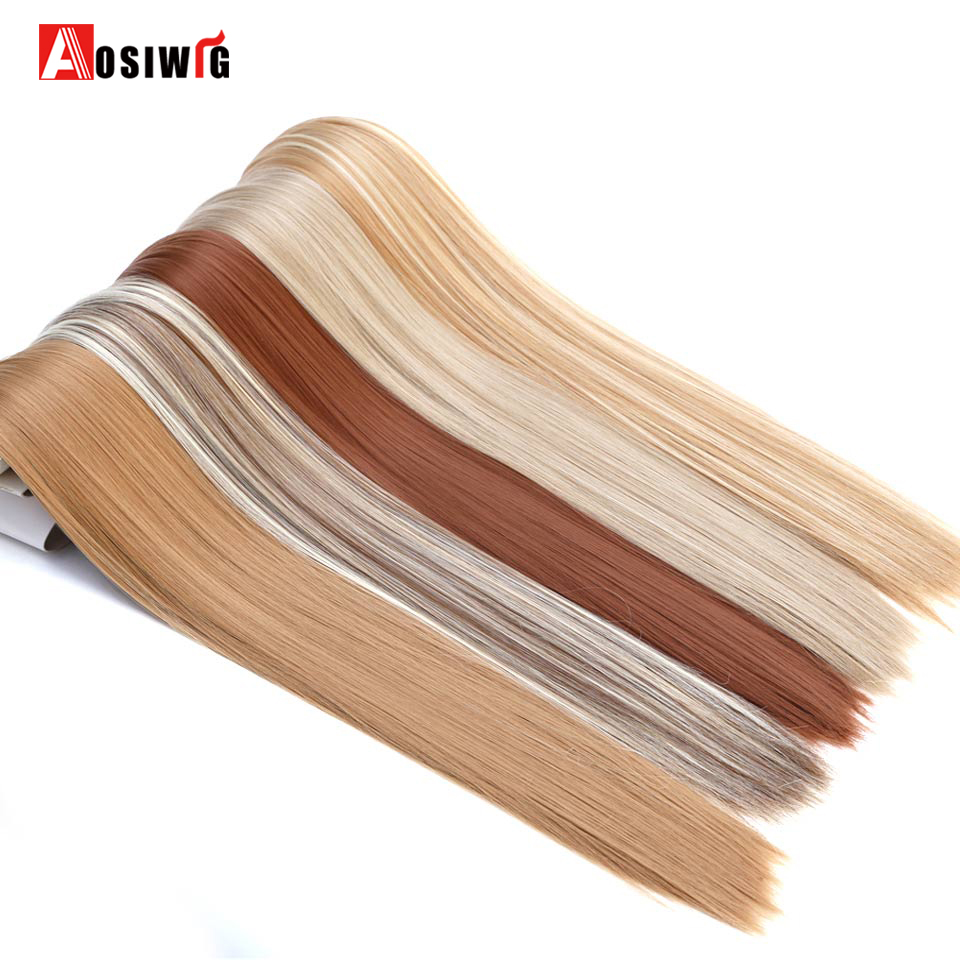 AOSIWIG 24'' Long Straight Hair Extension 6 pcs Full Head <font><b>16</b></font> Clips In Hair Extensions High Temperature Fiber Synthetic Hairpiece image
