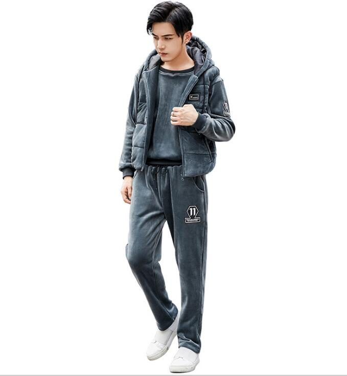 Three Piece Winter Jacket Set New Men's Thin High School Students' Thickened Sportswear