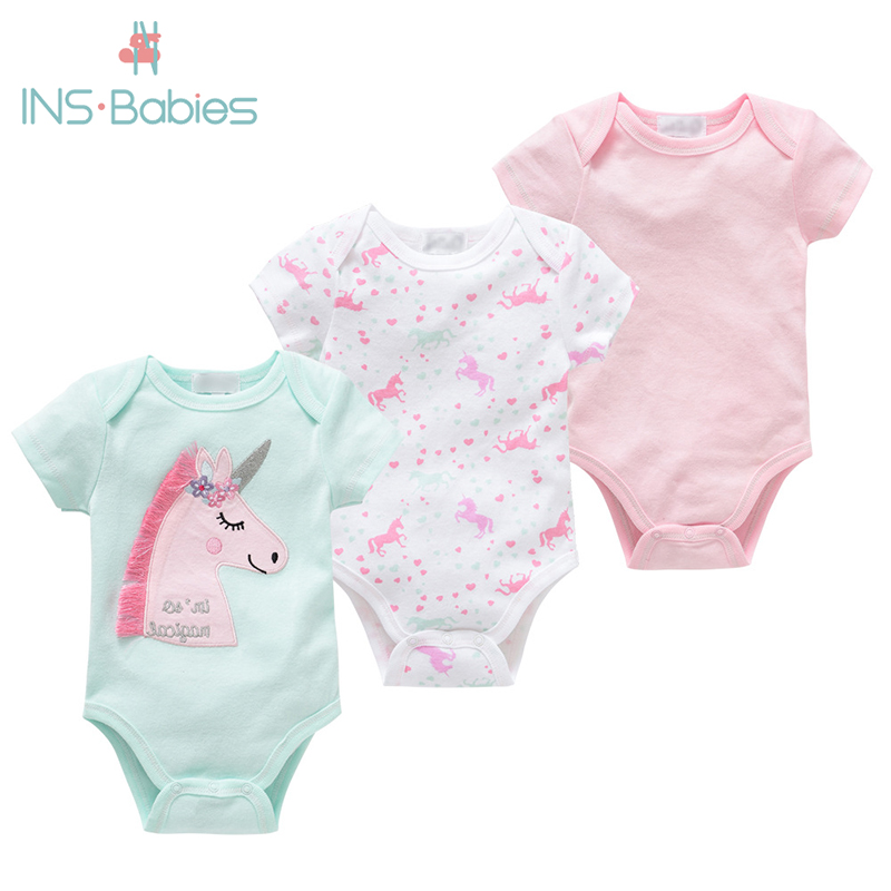 2020 Unicorn Newborn Baby Boys Girls Bodysuit Short Sleeve Fashion 3pcs Summer Baby Girls Clothes Cotton Pink Princess Pajamas