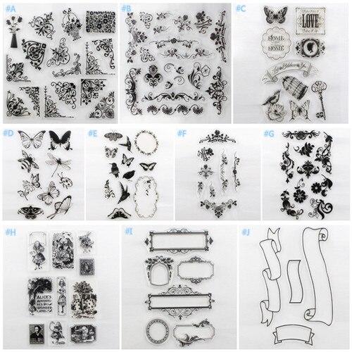 Alphabet chaud Transparent Silicone clair caoutchouc timbres feuille s'accrochent Scrapbooking bricolage Mulit conçoit des timbres faits à la main