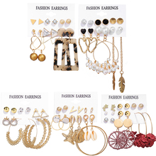 Europe Fashion New Style creative retro simple earrings Flower earrings set 6 pairs /set hello miss new alloy pendant earrings fashion retro style earrings creative gifts women s earrings