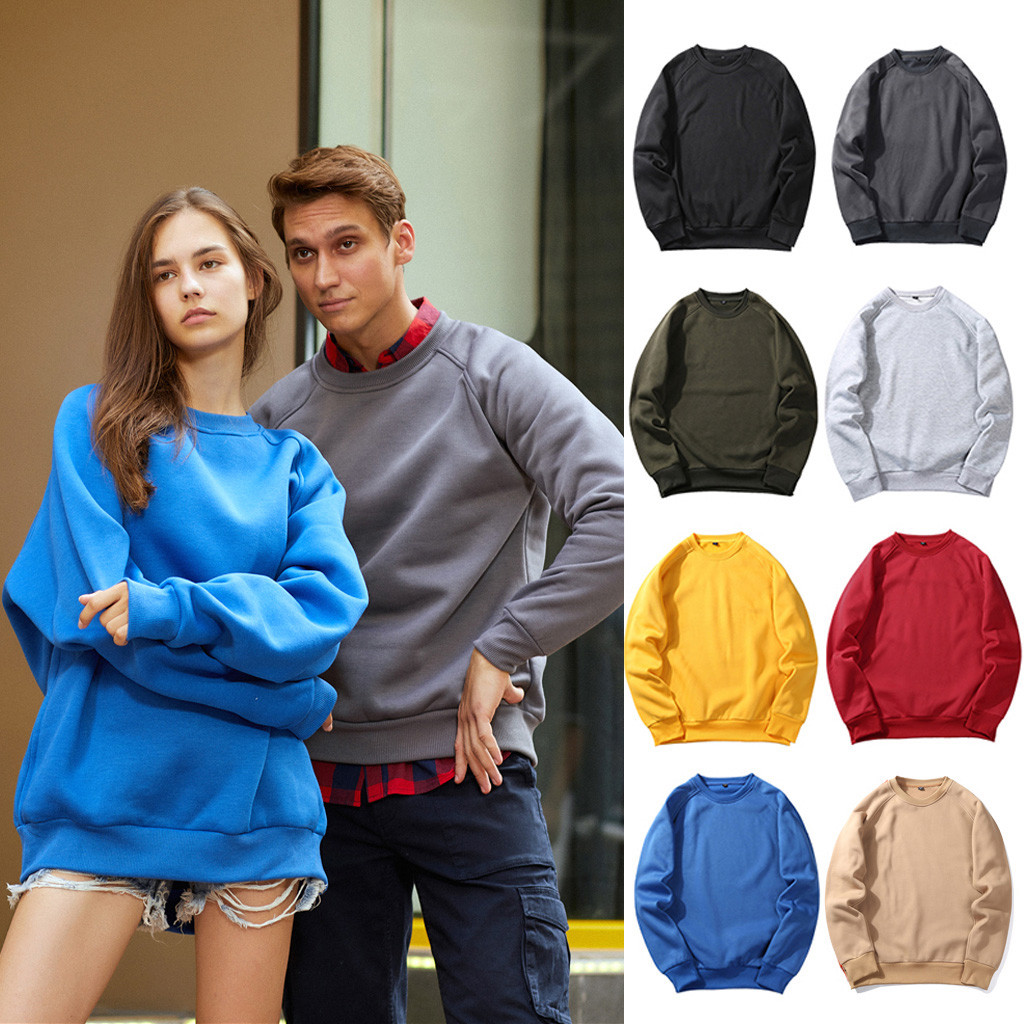 Men And Women Autumn And Winter New Fashion Casual Trend Casual Solid Color Couple Sweetshirt Wholesale Free Ship толстовка Z4
