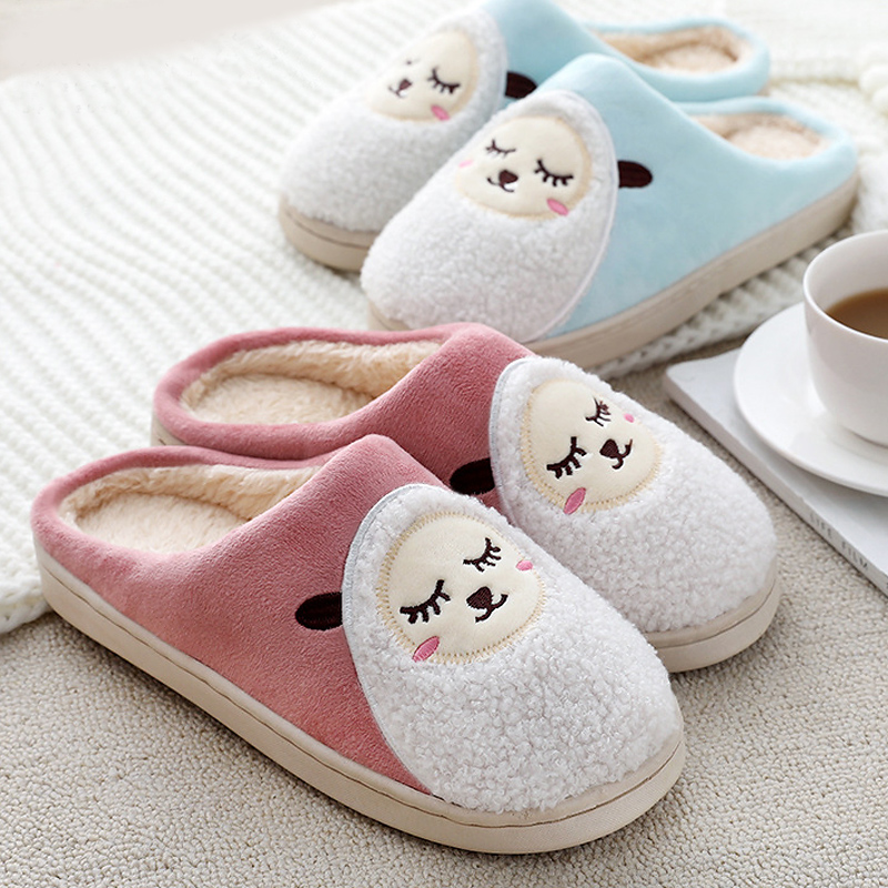 Fur Slippers House-Shoes Sheep Winter Fashion Women Cartoon Indoor Warm Home 44