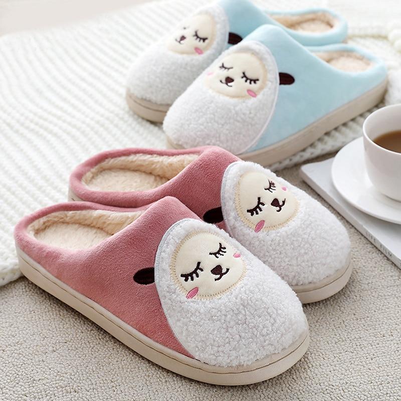 Fashion Winter Women Fleece Warm Cute Sheep Soft Indoor Home Slippers Shoes