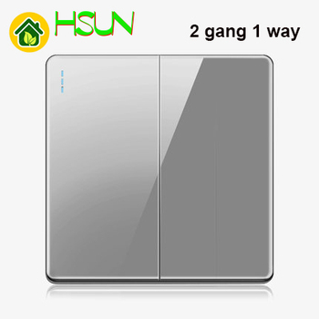 High-grade 1 2 3 4 gang 1 2 way big panel Grey switch socket Type 86 Wall 2.5D Cambered Mirror Toughened glass Computer TV 19