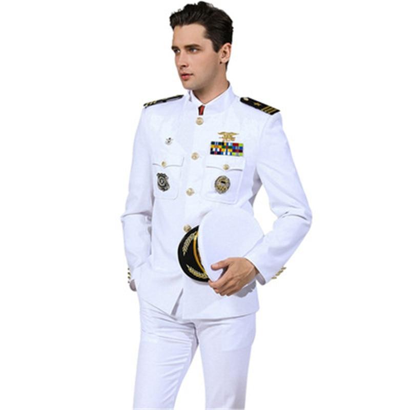 Hot Sale Standard Navy Uniform White Military Clothes Men American Formal Attire Suits Jacket + Pants