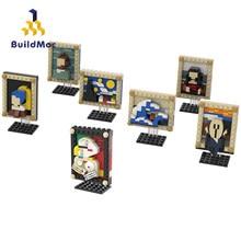 BuildMoc piksel sanat mozaik resim MOC Van Gogh kendinden portre resim Masterpiece yapı taşları tuğla sanat oyuncaklar çocuklar için