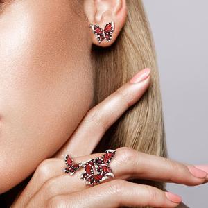Image 5 - SANTUZZA Red Butterfly Jewelry Set For Woman White CZ Ring Earrings Pendant 925 Sterling Silver Fashion Jewelry HANDMADE Enamel