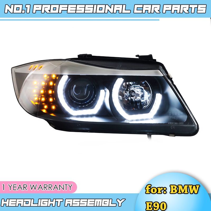 car accessories Headlights-For <font><b>BMW</b></font> <font><b>E90</b></font> headlamp 318i 320i 325i Headlight LED Angel eyes <font><b>Front</b></font> <font><b>light</b></font> for 318 320 325 Bi Xenon Len image