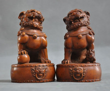 wedding decoration old chinese Boxwood wood carved fengshui 3 lion foo dog beast lucky statue pair