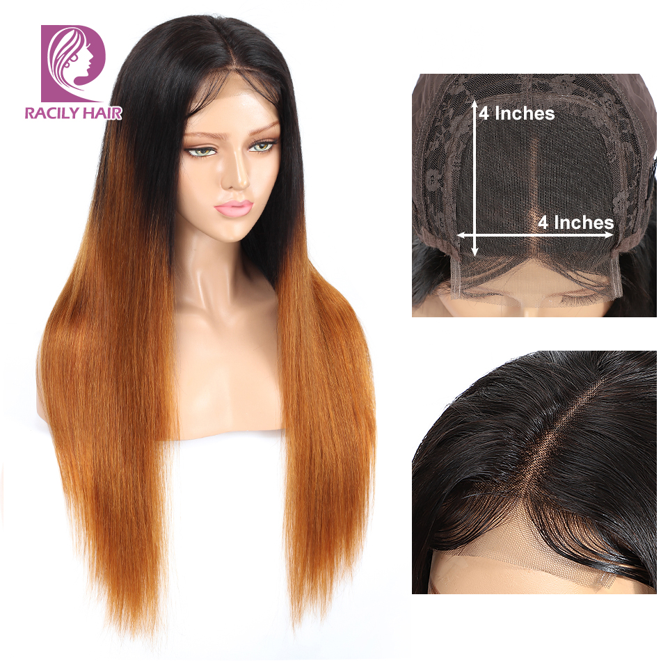 Ombre 4*4 Lace Closure Wig With Baby Hair Brazilian Straight Wig Remy T1B/30 Closure Human Hair Wigs For Black Women Racily Hair