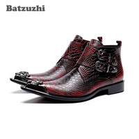 Batzuzhi Korean Type Fashion Men Boots botas hombre Leather Dress Boots Pointed Metal Tip Wine Red Party and Wedding Boots Men
