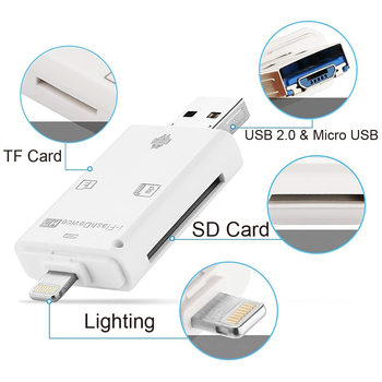 USB Lightning Card Reader OTG Flash Drive microSD TF Card Memory Card Reader Adapter For iPhone 5 5s 6 7 8 X S6 S7