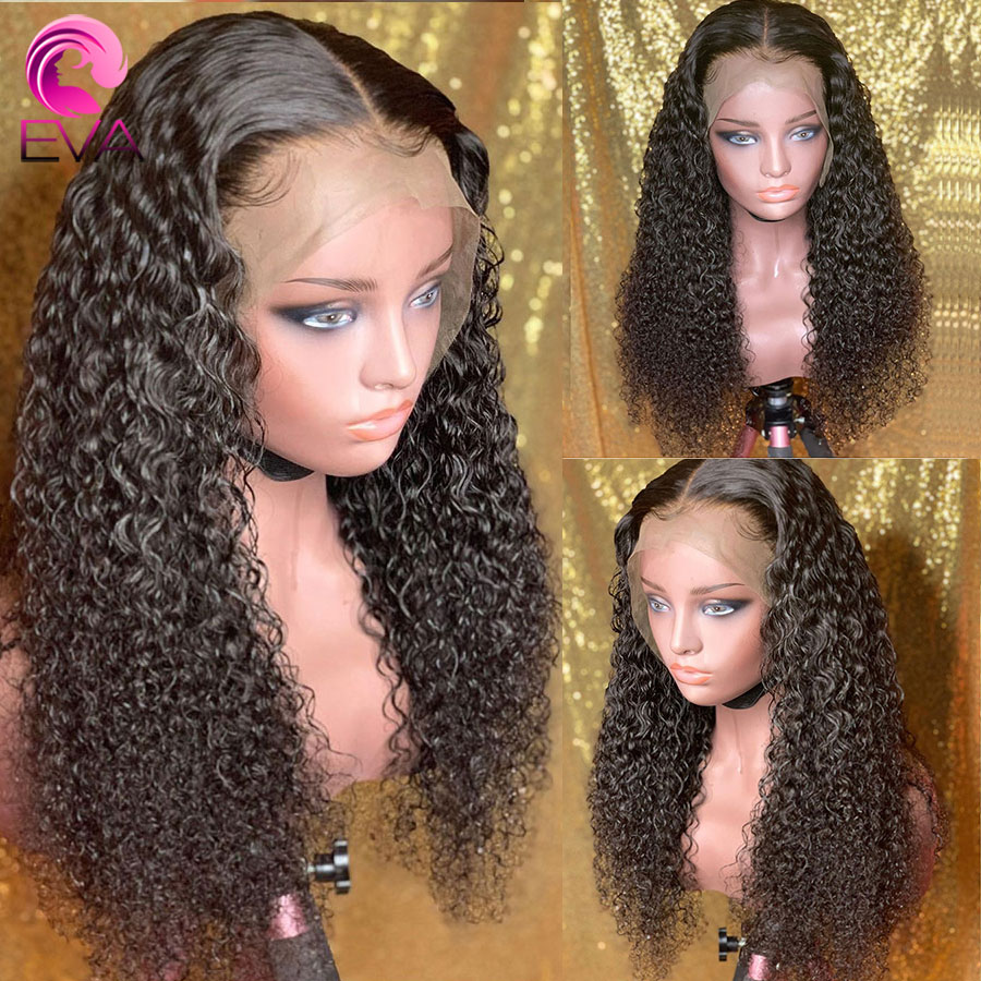 Eva Hair Glueless 150% Curly 13x6 Lace Front Human Hair Wigs Pre Plucked With Baby Hair Bleached Knots Remy Hair Wigs For Women