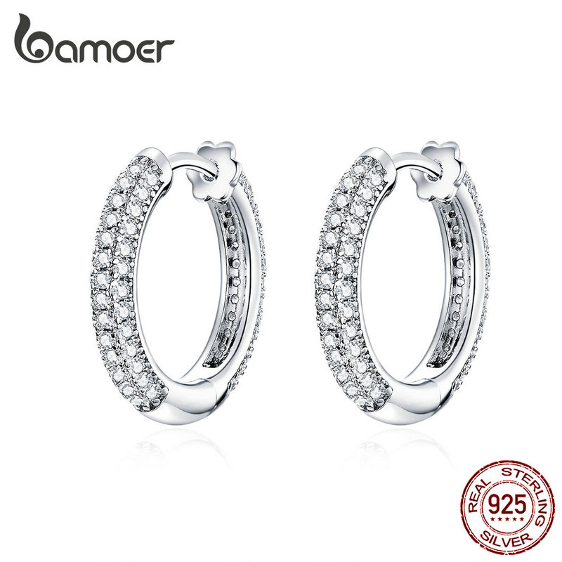 bamoer Ear Hoops 925 Sterling Silver Luxury Hoop Earrings for Women Wedding Engagement Jewelry Gifts Accessories 2019 BSE300(China)