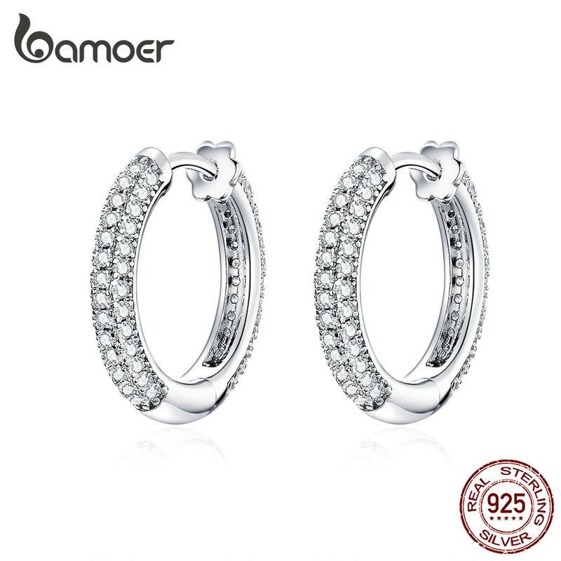 Bamoer Ear Hoops 925 Sterling Silver Luxury Hoop Earrings For Women Wedding Engagement Jewelry Gifts Accessories 2019 BSE300