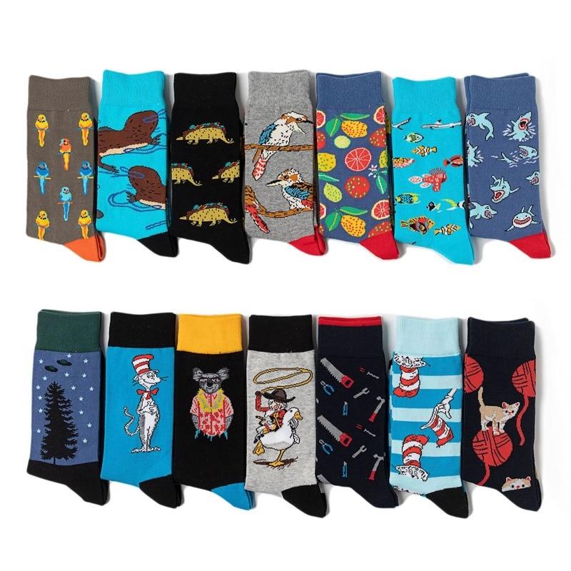 Crew Socks Funny Man Cotton Mens Sox Animal Print Soft Sock Shark Cat Cartoon Men Autumn Winter Classic Adult Calcetines Hombre