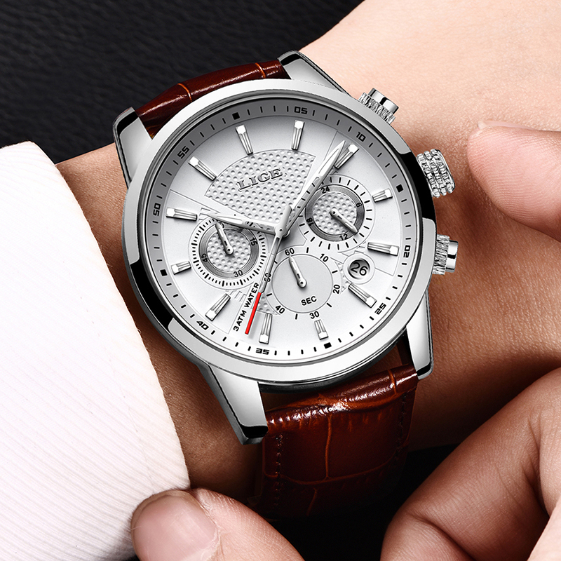 2021 New Mens Watches LIGE Top Brand Leather Chronograph Waterproof Sport Automatic Date Quartz Watch For Men Relogio Masculino 5