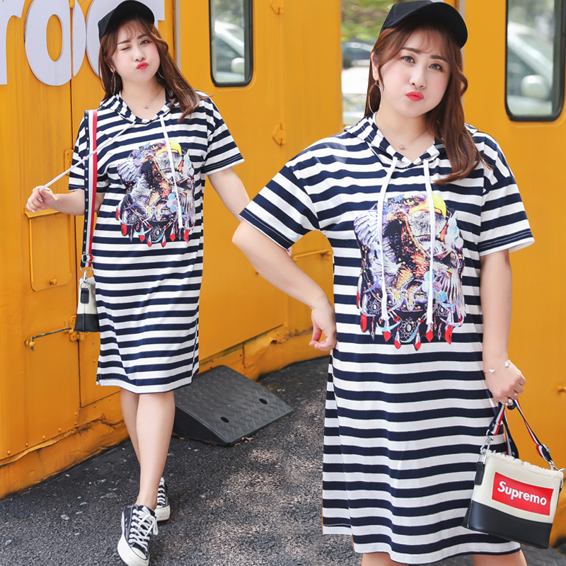2018 Summer Wear New Style Large GIRL'S Plus-sized Extra Large WOMEN'S Dress Stripes Full Body Dress A Generation Of Fat 1094